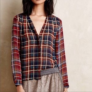 Anthropologie Maeve Plaid Sheer Button Up Blouse